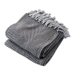 Brahms Mount - USA Made Brahms Mount Cotton Herringbone Throw, Dove Gray / Ebony, Throw - Cotton throw blanket with hand twisted fringe made in the USA by Brahms Mount of Maine since 1983.