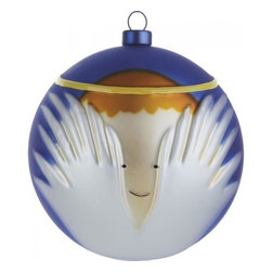 """Alessi - Alessi """"Angioletto"""" Christmas Bauble - This beautiful Holiday ornament features a delightful depiction of a cherub, smiling innocently from behind its wings. A golden halo encircles the decoration — a final detail sure to put you in the Christmas spirit."""