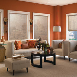 Solar Screen Shade | Eclectic Living Room| Brown & Orange | Modern Furniture & T - Reduce glare and create an aesthetically pleasing space - Solar Shades