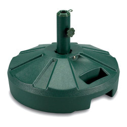 "Patio Living Concepts - Umbrella Base and Stand - Dark Green - Color coordinate your exterior design even further with such a lovely shade of dark green on this robust umbrella base and stand.  With an easy to fill spout and securing cap, it doesn't take much energy to set up for summer fun and shade.  This durable Dark Green Umbrella Base with Stand features an easy-fill spout and locking screw-on cap that allows weighting with up to 50 lbs.  of sand.  Keep your patio umbrella secure with this dark green molded resin umbrella base. * All bases and base stands are individually boxed, unweighted, and available in five colors.Fully weighted, these bases offer slightly over 50 lbs. of heavy holding force for any umbrella.. Each model features a locking screw-on cap to hold the sand weight inside it's durable molded resin body.. This feature enables dealers or consumers to purchase sand for weighting at their local home stores and easily fill the bases with sand themselves to reduce shipping costs.. All stainless steel hardware.. Molded resin umbrellabase has stainless steel hardware.. For use with umbrellas with up to a 11/2"" dia. pole.. Easy fill spout and cap to secure up to 50 lbs. of sand filler for weight (sand not included).. 16"" dia. x 61/2"" ht."