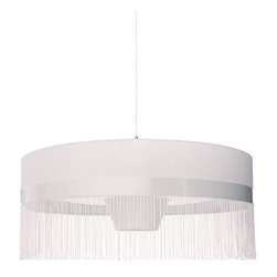 Moooi - Fringe 2 Pendant Light - Join the fringe element! This dramatic drum pendant, designed by Edward van Vliet, adds a touch of flirty trim on an otherwise classic shade — the result is the perfect ceiling centerpiece for your favorite setting.