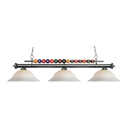 """Z-Lite - 170BN-WM16 Brushed Nickel Shark 3 Light Chandelier with Glass Shade - Created with the game room in mind, this three light fixture would be a perfect addition above pool table due to its billiard ball detailing. 72"""" of chain is included to ensure a perfect hanging height."""