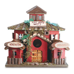 "Anzy - Finch Valley Winery Birdhouse - Wood bird house featuring detailed wood doors, shutters and mossy roof. The ""Finch Valley Winery"" is a favorite feasting place for flying gourmets! 10 5/8"" x 7 7/8"" x 10 1/8"" high."