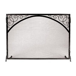 Achla - Fire Screen w Arch & Scroll Detail - Small (S - Choose Firescreen Size: Small: 38 in. W x 30 in. HFireplace screens are a wonderful way to bring beauty to the hearth and keep sparks from flying.  This scroll and arch design is a classic single panel that can also be situated flat against the surround during summer.  Side handles make it easy to rearrange. * Handcrafted in EuropeHigh quality wrought iron construction to accommodate your needsGraphite powdercoat finishSmall: 39 in. W x 31 in. HLarge: 44 in. W x 33 in. H