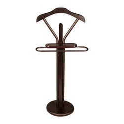 Richards Homewares - Walnut Designer Valet - Espresso wood with and bronze tube finish. Designed to organize your suit, tie, belt and accessories all in one place. Features form fitting hanger, accessory tray and trouser bar. Perfect accessory for the well-dressed gentleman.