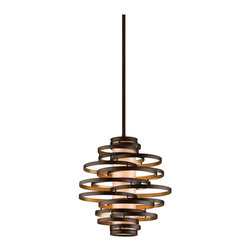 Corbett Lighting - Corbett Lighting Vertigo 2-Light Modern / Contemporary Pendant Light X-24-311 - The slightly smaller sister of the Vertigo pendant, this fixture is definitely not short on the beauty. This modern and contemporary pendant light features flattened bronze and gold leaf iron bands that twirl around a caramel colored ice diffuser. Don't skimp on the beauty offered by this pendant, buy a few of them and really anchor your space. Cluster them or place them in a line over a sitting space or table - you wont be disappointed.