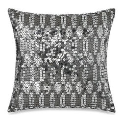 """Kas Australia - KAS Penny Sequin Square Toss Pillow - This Penny square toss pillow brings glitz and bling to your bed, featuring an all-over sequin pattern on a metallic grey ground. Measures 18"""" W x 18"""" L. 100% cotton exclusive of decoration. Spot clean only. Imported."""