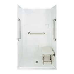 """Ella's Bubbles - Ella Standard Plus 24 Barrier Free, 48""""W x 37""""D x 78""""H, Center Drain - The Ella Standard Plus 24, (4-Piece) 48 in. x 36 in. Roll in Shower is manufactured using premium marine grade gel coat fiberglass which creates a smooth, beautiful, long lasting surface with anti-slip textured shower base floor. Ella Standard Plus 24 Barrier Free Shower walls are reinforced with wood and steel providing flexibility for seat and grab bar installation at needed height for any size bather. The integral self-locking aluminum Pin and Slot System allows the shower walls and the pre-leveled shower base to be conveniently installed from the front. Premium quality material, no need for drywall or extra studs for fixture support, 30 Year Limited Lifetime Warranty (on shower panels) and ease of installation make Ella Barrier Free Showers the best option in the industry for your bathtub replacement or modification needs. The Ella Standard Plus 24 Barrier Free, Roll In Shower comes with three (3) 24 inch satin finish straight stainless steel grab bars (not installed to allow for custom positioning), a four legged fold-up seat, a textured slip resistant Grip Sure™ floor, a collapsible white rubber dam which allows for easy wheelchair roll over into the shower stall and keeps water inside the shower."""