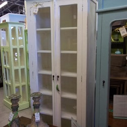 Tall Country Cabinet - Beautiful Tall Glass Country Cabinet - Display  your comforters and blankets, or prized possessions. Off white chippy painted piece.