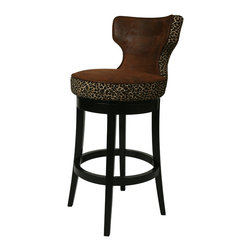 """Pastel Furniture - Augusta Swivel Barstool - The Augusta Barstool has a simple yet elegant design that is perfect for any decor. An ideal way to add a classic flair to any dining or entertaining area in your home. This swivel barstool features a quality wood frame with sturdy legs and foot rest finished in Feher Black. The padded seat is upholstered in Micro Fiber Black offering comfort and style. Available in 26"""" counter or 30"""" bar height. Assembled dimensions for this barstool: (41.12 x 19.69 x 24.41)."""