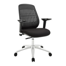 Reveal Premium Office Chair - Turn your sights to a fun little office chair that packs a whole lot of punch. Reveal was named after the slitted-back design that lets in some light, while barring entry to the rest. But aside from the modernism inherent in the design itself, the array also results in a pattern that is comfortably flexible to lean against. Reveals molded foam seat also comes generously padded with a seat pan that encourages a vertical seating posture. The aluminum base comes equipped with five dual-wheeled hooded casters for easy gliding over carpeted surfaces, while the seat height easily adjusts using a pneumatic lever. To enhance the overall ergonomics of this piece, the armrests also adjust to align with the height of your upper body and pivot in and out.