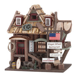 Koolekoo - Wagon Wheel Restaurant Birdhouse - This whimsical Wagon Wheel Restaurant birdhouse beckons birds to stop in for a bite and rest their weary wings for the night.