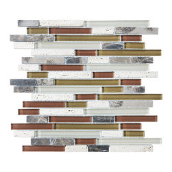 Rocky Point Tile - Bliss Cabernet Random Strip Glass and Stone Mosaic Tiles - Be a little bold! Burgundy, white, and brownish green glass combine with travertine and dark marble for a truly eclectic mix of earthy colors and textures. Liven up your kitchen backsplash with an organic combination that goes well with a variety of cabinetry, countertops and appliances, from wood to stone to stainless steel.