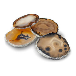 Silver Leaf Agate Coasters - Set of 4 Silver Leaf Agate Coasters