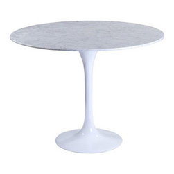 """LexMod - Lippa 36"""" Marble Dining Table in White - Lippa 36"""" Marble Dining Table in White - Reflecting a seamless organic shape and timeless form, the Lippa Table has become a symbol of modernism for over the past 60 years. Before its release, homes were filled with clunky remnants of an industrial age long gone by. But in order to advance into the new world, homes first had to transition from the traditional square table, into a piece that connoted progress. The base and dimensions are true to the original specifications, while the tables circular top, and tapered base, are carefully lacquered with a scratch and chip resistant finish. Set Includes: One - 36"""" Lippa Table in Marble Scratch and Chip Resistant Finish, Fiberglass Base, Solid Marble Top Overall Product Dimensions: 35.5""""L x 35.5""""W x 29""""H - Mid Century Modern Furniture."""