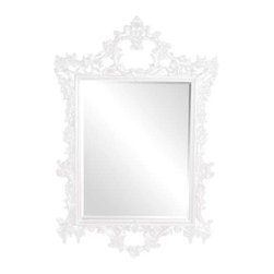Howard Elliott Sherman White Mirror - Our Baroque Styled Sherman mirror is finished using our custom glossy white lacquer. The frame features many ornate details.
