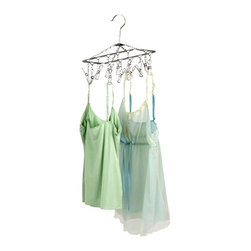 Hanging Drying Rack- Chrome - Honey-Can-Do DRY-01102 Hanging 12-Hook Lingerie Dryer, Chrome. Extend the life of your delicates by air-drying with a Honey-Can-Do 12-Hook Lingerie Carousel. No need to hang your unmentionables all over the house to dry; this item is capable of hanging up to 12 pieces in a square foot of space. It features a convenient hanging hook that fits perfectly on a closet bar or shower rod. An upgrade from standard plastic carousel hangers, the chrome finish is beautiful, rust-resistant, and sturdy, plus folds flat and stores easily when not in use. It is the perfect solution for keeping your delicates looking their best. Repurpose and use for drying other items such as herbs or flowers.
