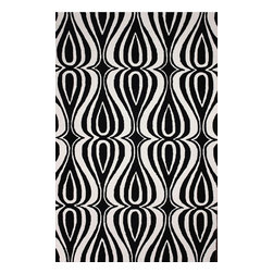 """nuLOOM - Contemporary 8' 6"""" x 11' 6"""" Black Hand Hooked Area Rug UZB53 - Made from the finest materials in the world and with the uttermost care, our rugs are a great addition to your home."""