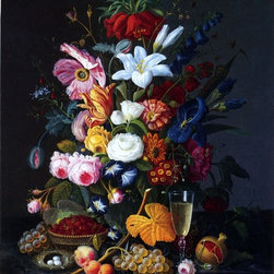 """Severin Roesen Floral Still Life - 16"""" x 20"""" Premium Archival Print - 16"""" x 20"""" Severin Roesen Floral Still Life premium archival print reproduced to meet museum quality standards. Our museum quality archival prints are produced using high-precision print technology for a more accurate reproduction printed on high quality, heavyweight matte presentation paper with fade-resistant, archival inks. Our progressive business model allows us to offer works of art to you at the best wholesale pricing, significantly less than art gallery prices, affordable to all. This line of artwork is produced with extra white border space (if you choose to have it framed, for your framer to work with to frame properly or utilize a larger mat and/or frame).  We present a comprehensive collection of exceptional art reproductions bySeverin Roesen."""