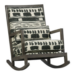 Jeremiah Fabric Back Rocker, Brahms Midnight - This rocker is the perfect blend of modern and rustic.