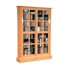 """Atlantic - Windowpane Sliding-Glass Door Multimedia Cabinet - 576 CD, 192 DVD or 216 Blu-ray Disc capacity. Cut tempered-glass windows. Adjustable shelves. Unique 2-way sliding glass doors. 7 shelves total-1 fixed & 6 adjustable. Includes wall anchor kit. Maple. Dim: 48""""H x 9.5""""W x 32""""DThis traditional maple finish media storage cabinet fits most decors. Cut tempered glass pane styled doors slide from either side, making movie or music access easy. Store Blu-rays, DVDs and CDs. Shelf heights adjust to optimize capacity."""