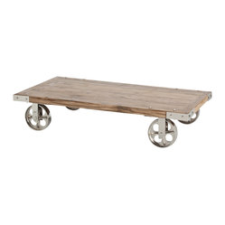 Arteriors - Norwood Coffee Table - Rustic, refined and rolling in style! The top of this coffee table is made from reclaimed wood while the wheels and other metal accents positively gleam in polished nickel. It's a great way to get the industrial-modern look you love.