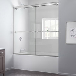 "DreamLine - DreamLine DL-6997-04CL Charisma Tub Door & Backwalls - DreamLine Charisma 56 to 60"" Frameless Bypass Sliding Tub Door and QWALL-Tub Backwall Kit"