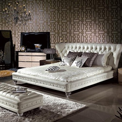 Luxurious Bedroom Collection - BUYS- 1191 Contemporary Cream Curved Button Tufted Leather Headboard And Decorative Rails And Legs Bed