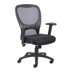 """Boss Chairs - Boss Chairs Boss Budget Mesh Task Chair with Adjustable Height Arms - Upholstered with mesh material, which allows air to pass through, adding to long term comfort by preventing body heat and moisture to build-up. Mesh back provides the perfect level of support by conforming to each individuals back shape. Pneumatic gas lift seat height adjustment. Adjustable tilt tension control. 25"""" nylon base. Hooded double wheel casters. Adjustable height arms."""