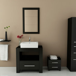 "JWH Imports - 31.5"" Libra Small Single Vessel Sink Modern Bathroom Vanity Cabinet Set - Sleek and compact, this compact, single sink and vanity cabinet set will bring balance to your life. Modern, angular and decorative, you'll look forward to your daily cleaning rituals and will love how efficient your bathroom feng shui will feel."