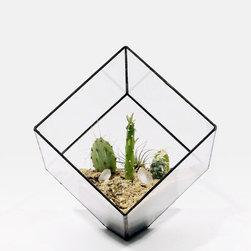 Large Cube Planter - This is such a minimal piece, but it has so much going on. This glass cube planter sits on one flat edge to appear as if it's floating, and the askew design forces you to think carefully about the composition of your living arrangement. Or you can just leave it empty and call it art.