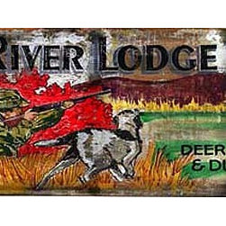 Red Horse Signs - Vintage Hunting Signs Rainy River Lodge Rustic Sign - Vintage  Hunting  Signs  -  Rainy  River  Lodge  Rustic  Sign          Make  our  vintage  Rainy  River  Hunting  Lodge  sign  your  very  own  by  customizing  with  the  name  of  your  special  getaway!  This  vintage  sign  is  available  in  either  9x32  or  14x42  size  and  is  printed  directly  to  distressed  wood  with  all  the  knots  and  imperfections  of  real  weathered  wood.  Please  specify  location  name  to  replace  Rainy  River  on  your  order.  Existing  wording  says,  Rainy  River  Lodge,  Hunting  lic.  issued.  Boats  $1.00  a  day.  Motor  $2.00.  Ammo  &  Supplies.  Telegraph  Service.  Deer,  moose,  bear  &  duck  hunting.  Allow  up  to  three  weeks  for  delivery.          Product  Specifications:                  Rustic  Style              9x32              Printed  directly  to  distressed  wood              Personalize  with  your  lodge  name