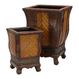 Nearly Natural - Decorative Wood Planters (Set of 2) - An interesting looking collection, decorated with a gorgeous fusion of textures and color. Resting on a thick sturdy base, the 18 inch planter box and its 12.5 inch companion come with an intricately designed vine and flower design. Above you'll marvel at the upward golden planks surrounded with variety of burgundy trim work. Perfect for anywhere you want a touch of boldness and class.