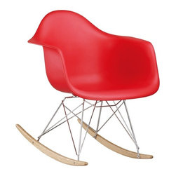 Molded Plastic Rocker, Red - Glide.rock.sing or sack out. How many gliders have you seen in friend's room. This high-quality reproduction of rocking chair (also called cradle chair) is something that can be with your family for years to come, perfectly suited to any room of your home. The oringinal rocker is make of fiberglass and steel, but this modern rocker is crafted with recycled polyprolene shell over a very supportive chromed steel base support. This molded shell has a deep seat pocket, integrated armrests and a high backrest. The waterfall seat edge promotes comfortable seating for extended periods of time by reducing pressure on the backs of thighs.
