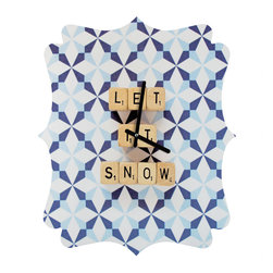 DENY Designs - DENY Designs Happee Monkee Let It Snow Quatrefoil Clock - Tick tock, tick tock. When time feels like it's standing still, check out DENY's Quatrefoil Clock. Paired with the art of your choice, this Quatrefoil Clock is just what you need to make the day go by just a little bit faster.