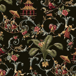 Mandarin Prose Wallpaper - This bold design is a whimsical dream with Asian influence. People and dogs in colorful costumes, spotted leopards and pagodas plus scrolling branches bearing multicolored flowers; this is a statement making wallcovering.