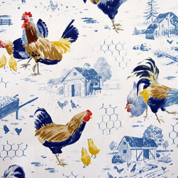 Chicken wire fabric country rooster blue toile - A rooster chicken wire blue toile fabric. A blue chicken toile fabric. Perfect for a farmhouse style home.
