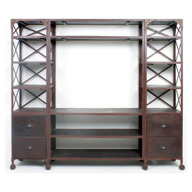 Factory Entertainment Unit - Store electronic items like a television set, a DVD player and other stereo components in this large entertainment unit that is apt for a minimalist room setting. This traditional styled home entertainment center is made of fine-quality wood and features a functional design.