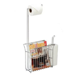 Toilet Caddy - Toilet Mate Toilet Caddy Tissue Dispenser with Magazine Rack, Chrome - The Toilet Mate is a sleek and stylish toilet tissue dispenser and organizer all in one. A spacious magazine rack and storage for two extra tissue rolls, all conveniently at your side!
