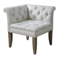 Uttermost - Uttermost 23125 Tahtesa Linen Blend Corner Chair - Uttermost 23125 Tahtesa Linen Blend Corner Chair