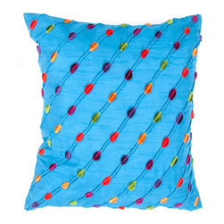 Jaipur - Brooklyn Blue and Red 18-Inch Square Pillow - - An urban modern collection of pillows in bold brights to enhance any contemporary living space. Made from poly dupione, a range of solids with pintuck detailing can be mixed and matched with any of the exciting patterns. The collection features highly textural surfaces using an array of techniques from laser cut shapes to hand stitched knots and embroidery  - Cleaning and Care: Remove the throw pillow's cover, if it is removable. Wash the cover separately from the pillow. Pre-treat badly soiled or stained areas on the pillow cover with a color-safe prewash spray. Rub the spray into the stain with a damp sponge. Wash the pillow cover, or the whole pillow, on a gentle-wash cycle in warm water with a very mild detergent. Detergent for delicate fabrics or baby clothes is usually suitable. Remove the pillow or pillow cover as soon as the washing machine has ended the cycle and has shut off. Hang the pillow or cover up to dry in a well-ventilated area. If the care label specifies that the item is dryer-safe, place the pillow or pillow cover in the dryer and tumble dry on low heat. Fluff the pillow once it is dry in order to maintain its form. Don't use the pillow until it is completely dry. Damp pillows will attract dirt more easily  - Construction: Handmade  - It is Sustainable Jaipur - PLC100013