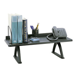 """Safco - Safco Black 30"""" Desk Riser - Safco - Desk Accessories - 3602BL - This office desk riser shelf allows for binders telephone monitor Desk Jet printer or other desk accessories to be stored. It features shelf dividers to keep books and binders upright and orderly and a retainer lip in the rear. Constructed with a melamine top and cast aluminum legs."""