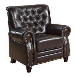 Abbyson Living - Abbyson Living Swindon Dark Brown Pushback Leather Recliner - With decades of experience in transitional to modern furniture design and affordable manufacturing costs, Abbyson Living has brought forth a new sense in designer furniture. The design accents the rich leather with an eye-opening contemporary flair that feels at home in any decor. This collection combines contemporary styling with remarkable seating comfort.