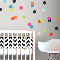 The Lovely Wall Co. - Bright BRIGHT Confetti Dots Wall Decal - Please note that metallic vinyl is not reusable.