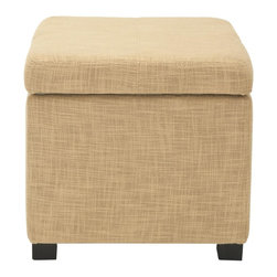 Safavieh - Madison Square Ottoman - Gold - A round of applause. The Madison Square Ottoman is the star of the household. Crafted with sleek textured upholstery in gold and birch wood legs in a black finish, its hinged top conceals the bits and bobs that contribute to never-ending clutter, while its ample foam top offers seating for that extra friend-of-a-friend.