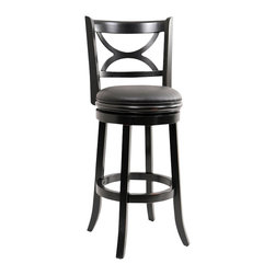"Boraam - Boraam Florence 29"" Swivel Bar Stool in Black Sandthru - Boraam - Bar Stools - 45729 - This beautifully constructed swivel stool is the perfect addition to your home. The attractively designed backrest plus the plush black seat exuberates sophistication. The compatible design will undoubtedly merge seamlessly with any style kitchen basement game room or bar! Constructed from solid hardwood made with precision construction and features a steel ball bearing swivel plate for a flawless three hundred and sixty degree swivel making the Florence stool a durably solid piece of furniture. Performance tested by the leading testing facilities that are recognizable worldwide purchasing this stool is not only a smart choice but also a wise investment. Additionally the sleek bonded leather upholstery encases a high-density foam cushion providing the maximum level of comfort for all who sit."
