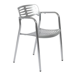 Euro Style - Helen Aluminum Arm Chairs - Set of Four - Bring extra shine to the decor of any room, porch, or patio with these eye catching arm chairs. Fully crafted of polished aluminum, these chairs have slat back seats, with lots of contemporary style and flair. Sold in sets of four to furnish your home, business, or restaurant with ease. * Set of 4. Helen Aluminum Arm Chairs - Set of Four. Polished Cast Aluminum. Stackable. Comes Fully Assembled. Commercial Grade. Seat: 17 in. H x 16 in. D. Overall: 22 in. W x 20.5 in. D x 31 in. H