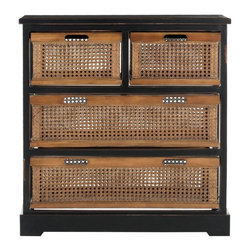 Safavieh - Biarritz Storage Unit - The British Colonial inspired Biarritz four-drawer storage evokes exotic locales abroad, yet features a relaxed vibe and generous storage right at home. Crafted with pine frame in black finish with amber-toned cane baskets featuring cutout handles for easy access. Some assembly required.