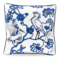 China Bird Pillow - Cobalt - Courtly bird designs with an unusually strong, stroked flair bring out the boldness of timeless blue and white. The color scheme, familiar from antique Delft ware and heirloom Chinese porcelain, indulges a traditional charm in the China Bird Pillow in Cobalt, but the depth of the colors is striking, giving attention to the pair of egrets' fabulous feathered silhouettes.