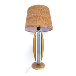 "marker six - Surfboard Classic Stripe Lamp - Really cool surfboard lamp with classic stripe colors. The board is hand painted light brown for a natural wood look and then each stripe is hand painted. Stripe colors are Lime Green, Navy Blue, Coastal Blue, Orange, and White. This piece would be perfect for any surf themed nursery or kids room. It is all handmade from the base to the board, everything is done in my shop using solid wood, excluding the lamp shade. Here are a few measurements so you can make sure it fits. The lamp with shade measures 19 1/2"" tall and the base is 5"" wide. The lamp without shade measures 15 1/4"" tall. Lamp shade is made of cork and is included. The lamp and shade may ship separately and may arrive at different times. All wires and hardware have been professionally installed and made kid friendly."
